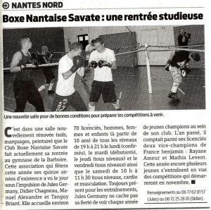 article de presse boxe savate nantes